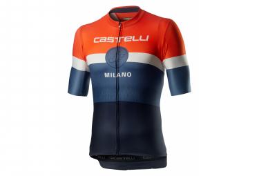 Maillot De Manga Corta Castelli Milano Dark Steel Blue Orange L