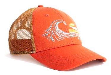 United by blue sunset swell trucker cap naranja beige