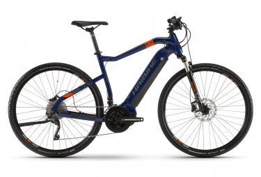 Bicicletta da turismo ibrida Haibike SDuro Cross 5.0 Shimano Deore / XT 10S 500 Wh 700 mm Blu Arancio 2020