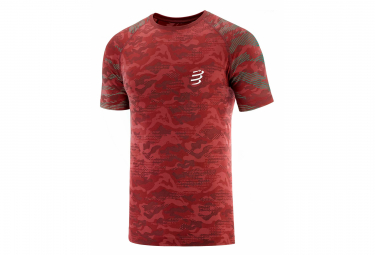 Maillot manches courtes Compressport Training Camo Neon 2020 Rouge Camo