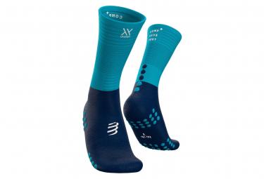 Paire de Chaussettes de compression Compressport Mid Compression Socks Bleu