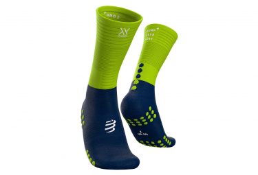 Socks Compressport Mid Compression Socks Blue Yellow
