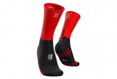 Paire de chaussettes de compression Chaussettes Compressport Mid Compression Socks Noir Rouge