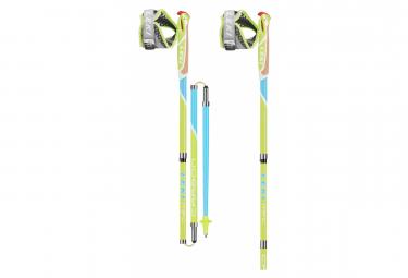 Paire de Bâtons de Trail Running / Marche Nordique Leki Micro Flash Carbon Vert Bleu