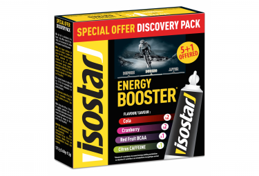6 Gels énergétiques Isostar Energy Booster Discovery Multi-Parfum