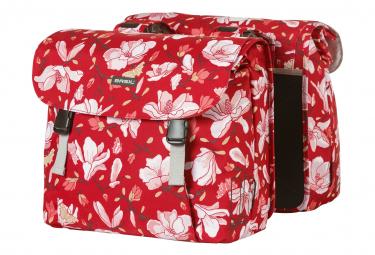 Basil Magnolia bolsa de bicicleta doble 35 litros rojo