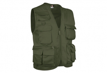 Valento Gilet reporter multipoches sans manches - SAFARI vert olive militaire