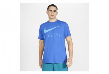 Maillot Manches Courtes Nike Dri-Fit Athlete Bleu Homme