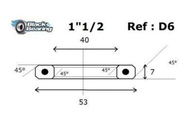 Black bearing - D6 Inox - Roulement de jeu de direction 40 x 53 x 7 mm 45/45°