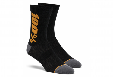 100% Rythym Merino Wool Performance Socks Black / Orange