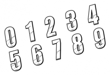 Stickers Num?ros de plaque - WHITE 8 cm