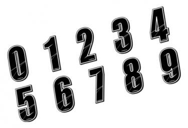 Stickers Num?ros de plaque - BLACK 8 CM