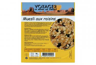 Petit Déjeuner Voyager Muesli pocket aux raisins 80g
