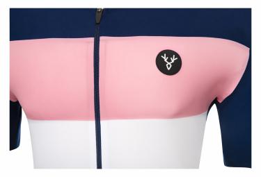 Maillot Manches Courtes LeBram Eze Bleu Marine Rose Coupe Ajustée