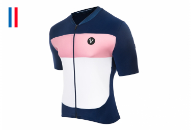 LeBram Eze Short Sleeve Jersey Navy Blue Pink Slim Fit
