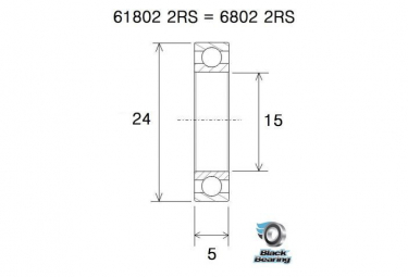 BLACK BEARING B3 Inox roulement 61802-2RS / 6802-2RS