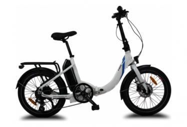 Vélo pliant électrique MINI blanc, Battery Lithium (Cellules Samsung) 36V 14 Ah (504Wh), Moteur Arrière UBKSystems 250W, Pneus anticrevaison. Livré 100% monté.