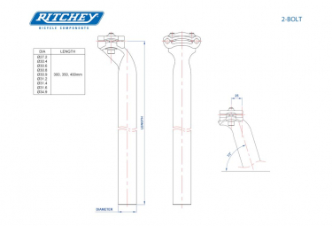 Ritchey Comp 2-Bolt Alu D Seatpost 25mm Black