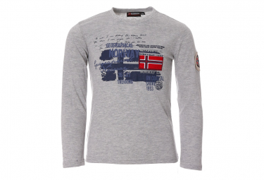 Tee-shirt Gris Garçon Geographical Norway Drapeau