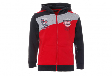 Sweat à capuche Rouge Gris Bleu Garçon Geographical Norway