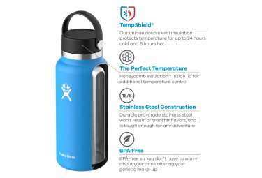 Bouteille Hydro Flask Wide Mouth With Flex Cap 946 ml Bleu Clair