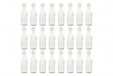 vidaXL 24 pcs Bouteilles en verre avec bouchon clipsable 1 L