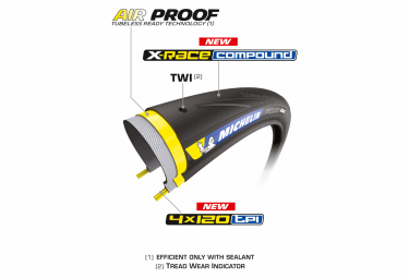 Pneu Route Michelin Power Road TLR 700 mm Tubeless Ready Souple X-Race Compound Noir