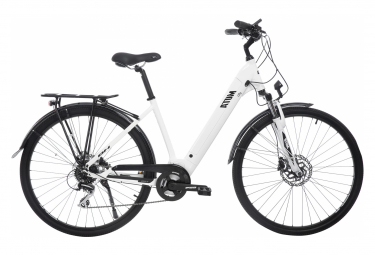 BH Atom City Wave Hybrid City Bike Shimano Acera 8S 500 Wh 700 mm White Black 2020
