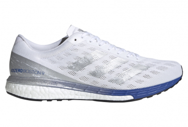 Adidas adizero Boston 9 White Silver Blue Running Shoes
