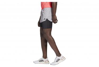 2-in-1-Shorts Adidas Heat Ready Grau Orange Schwarz