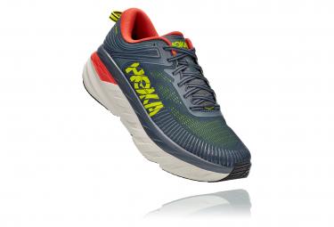 Pair of Running Shoes Hoka Bondi 7 Gray Yellow Orange Man