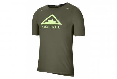 Maillot Manches Courtes Nike Rise 365 Trail Vert Khaki Homme