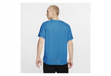 Maillot Manches Courtes Nike Rise 365 Trail Bleu Vert Homme