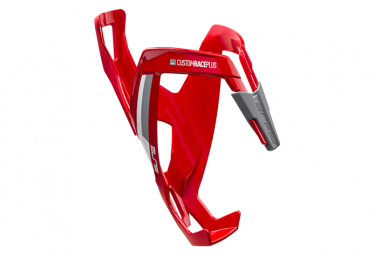 Elite Bottle Cage Custom Race+ Red Glossy. White graphic
