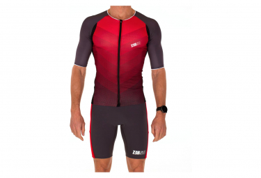 Haut de triathlon Z3R0D Racer Time Trial Rouge Gris