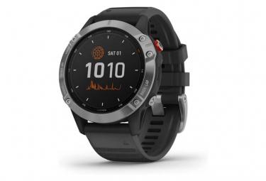 Reloj GPS solar Garmin fenix 6 plateado con correa negra