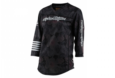 Maillot Troy Lee Designs Mischief Floral / Negro Manga 3/4 Mujer
