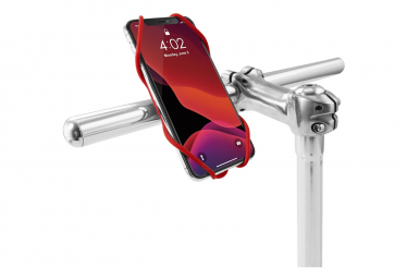 Image of Bike tie 3 red support pour telephone ecran 5 8 a 7 2 pouces fixation guidon de velo rouge