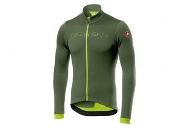 Castelli Fondo FZ Jacket Khaki Green / Fluo Yellow