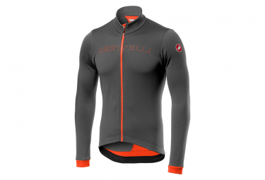 Castelli Fondo FZ Long Sleeve Jersey Gray / Orange