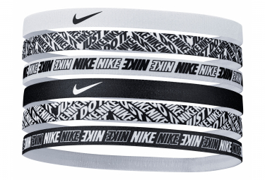 Nike Printed Mini Headband (x6) Black White Unisex
