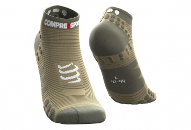 Paire de Chaussettes Compressport Pro Racing V3.0 Run Basse Vert