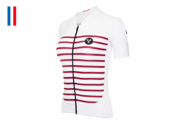 LeBram Ventoux Women's Short Sleeve Jersey White Bordeaux Tailored Fit