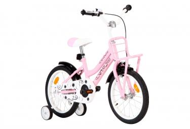 vidaXL Vélo d'enfant avec porte-bagages avant 16 pouces Blanc et rose