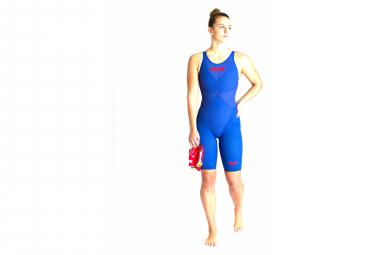 Banador Arena Powerskin Carbon Glide Con Espalda Cerrada Para Mujer Azul Rojo 36