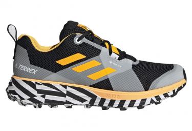 Adidas Running Terrex Two Gore-Tex Trail Shoes Yellow Gray Black