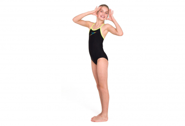 Speedo Boom Placement Thinstrap Muscleback Girl's Swimsuit Black Yellow