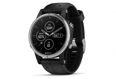Garmin Fenix 5S Plus Sapphire GPS Watch Silver with Black Band