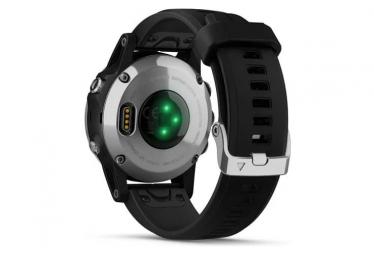 Orologio GPS Garmin Fenix 5S Plus Sapphire argento con cinturino nero