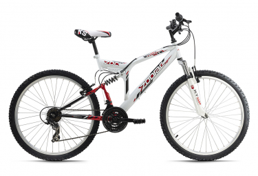 VTT tout suspendu 26'' Zodiac blanc-rouge TC 48 cm KS Cycling